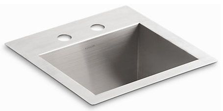 """15"""" x 15"""" x 9-5/16"""", 8-7/8"""" Rough-In, 18 Gauge, Stainless Steel, Top/Undermount, 2-Hole, 4"""" Center, Single Bowl, Bar Sink"""