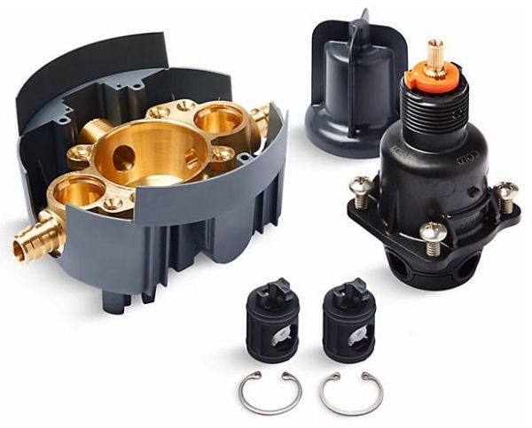 5 GPM, Machined Brass, 1-Piece, Pressure Balancing, Rough-In, Shower Valve Body and Cartridge Kit