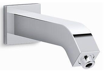 """1/2""""-14 TPI MPT, 8-5/16"""" L, Polished Chrome, Metal, Bend, Shower Arm with Flange"""