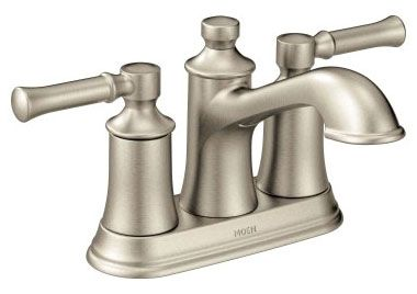 """5-15/16"""" x 4-1/4"""" x 4-15/16"""", 1.2 GPM, Lead-Free, Brushed Nickel, Metal Lever 2-Handle, Deck Mount, Centerset, Bathroom Sink Faucet with Metal Pop-Up Waste Assembly"""