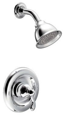 2 GPM, Chrome Plated, Metal Lever Handle, Wall Mount, Pressure Balancing, Shower Faucet