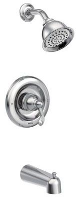 """1/2"""" Cold Expansion PEX, 7"""" L, 2 GPM, Chrome Plated, Metal Lever Handle, Pressure Balancing Control Valve, Diverter Spout, 1-Handle, Wall Mount, Tub and Shower Trim"""