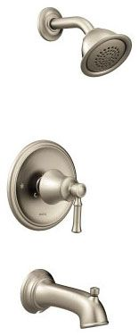 """1/2"""" NPT, 7-3/8"""" L, 2.5 GPM at 80 PSI, Brushed Nickel, Metal Lever Handle, Pressure Balancing Control Valve, Diverter Spout, 1-Handle, Wall Mount, Tub and Shower Faucet Trim Kit"""