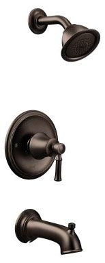 """1/2"""" NPT, 7-3/8"""" L, 1.75 GPM at 80 PSI, Oil Rubbed Bronze, Metal Lever Handle, Pressure Balancing Control Valve, Diverter Spout, 1-Handle, Wall Mount, Tub and Shower Faucet Trim Kit"""