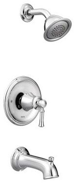 """1/2"""" NPT, 7-3/8"""" L, 2.5 GPM at 80 PSI, Chrome Plated, Metal Lever Handle, Pressure Balancing Control Valve, Diverter Spout, 1-Handle, Wall Mount, Tub and Shower Faucet Trim Kit"""