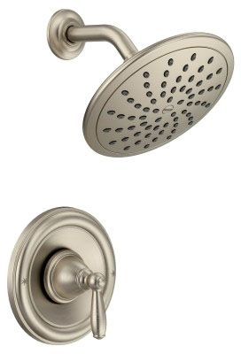 2 GPM, Brushed Nickel, Metal Lever Handle, Wall Mount, Pressure Balancing, Shower Faucet