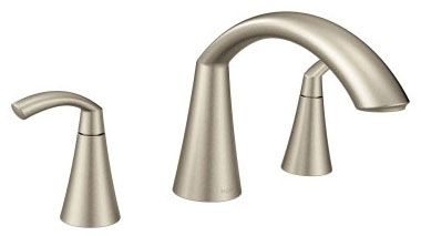 "7"" H x 4-3/4"" Clearance x 7-5/8"" Reach, 1/2"" CC, Brushed Nickel, Metal, 10"" Hole Center, High-Arc Spout, 2-Handle, Deck Mount, Tub Faucet"