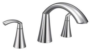 "7"" H x 4-3/4"" Clearance x 7-5/8"" Reach, 1/2"" CC, Chrome Plated, Metal, 10"" Hole Center, High-Arc Spout, 2-Handle, Deck Mount, Tub Faucet"