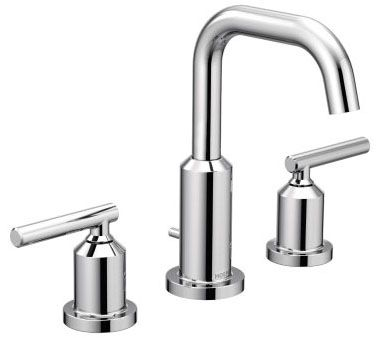 """8-5/16"""" x 6"""" x 5"""", 1.2 GPM, Lead-Free, Chrome Plated, Metal Lever 2-Handle, Deck Mount, Widespread, Bathroom Sink Faucet with Metal Pop-Up Waste Assembly"""