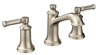 "5-1/8"" x 4-1/16"" x 5-1/16"", 1.2 GPM, Lead-Free, Brushed Nickel, Metal Lever 2-Handle, Self-Closing, Deck Mount, Centerset, Bathroom Sink Faucet"