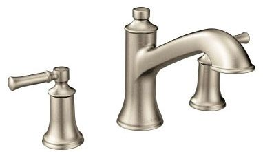 """7"""" H x 4-5/8"""" Clearance x 8-7/16"""" Reach, 1/2"""" CC, Brushed Nickel, Metal, 10"""" Hole Center, High-Arc Spout, 2-Handle, Deck Mount, Tub Faucet"""