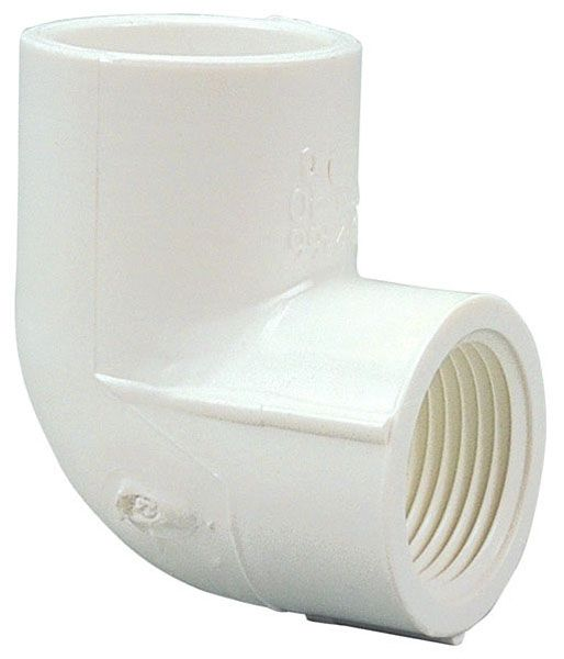 """1"""" x 1"""", Female Socket x FPT, 2000 PSI, Schedule 40, Lead-Free, PVC, 90D, Straight, Elbow"""