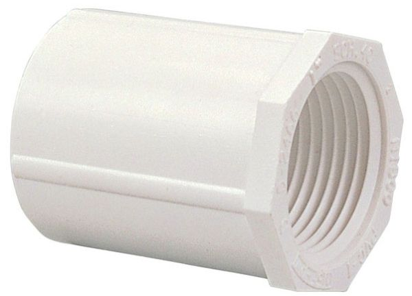 "1-1/2"" x 1-1/2"", Female Socket x FPT, 2000 PSI, Schedule 40, Lead-Free, PVC, Straight, Female Adapter"