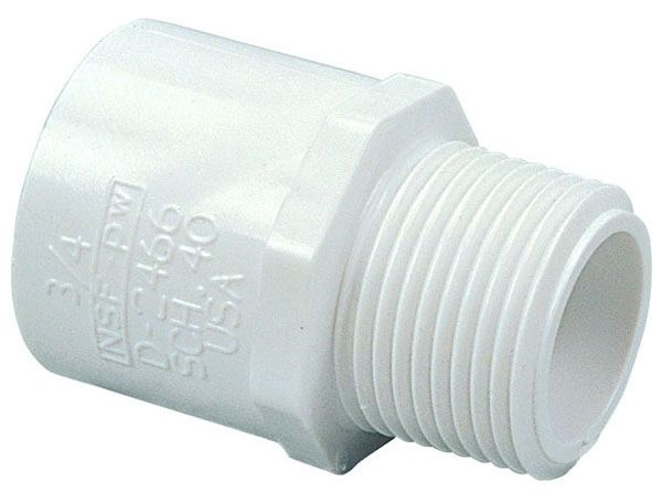 "1"" x 3/4"", MPT x Slip, 2000 PSI, Schedule 40, Lead-Free, PVC, Male Adapter"