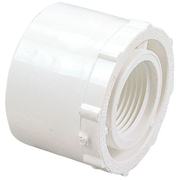 "1-1/2"" x 1"", Spigot x FPT, 2000 PSI, Schedule 40, Lead-Free, PVC, Reducing, Bushing"