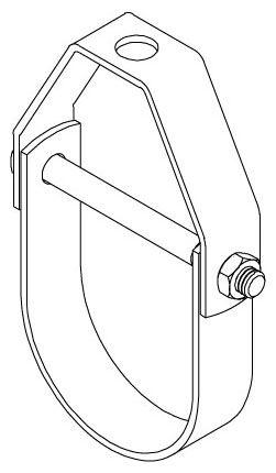 """1-1/2"""", 4-7/16"""" H, 730 Lb, Plain, Carbon Steel, Standard Clevis, Pipe Hanger"""