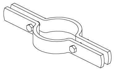 """1"""", 8-3/4"""" L, 220 Lb, Plain, Carbon Steel, 2-Piece, Riser, Pipe Clamp"""