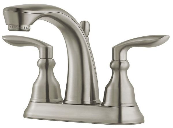 "5-9/32"" x 4-3/32"" x 5"", 1.2 GPM, Lead-Free, Brushed Nickel, Metal Lever 2-Handle, Deck Mount, Centerset, Bathroom Sink Faucet"