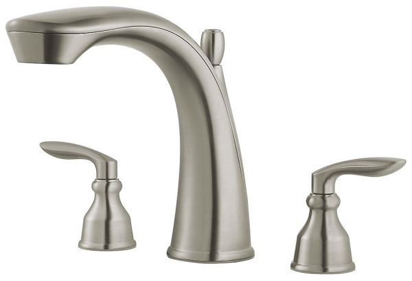 "8-9/16"" H x 6-7/8"" Clearance x 9"" Reach, 15 to 18 GPM, Brushed Nickel, Metal, 2-Handle, Deck Mount, Tub Faucet Trim"
