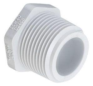 "10"", MPT, 8-1/2"" L, 140 PSI, Schedule 40, White, Fabricated, PVC, Plug"