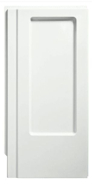 "39-3/8"" x 65-1/4"", White/Swirl Gloss, Solid Vikrell, 3-Wall Alcove Installation, Shower End Wall Set with Backerboard"