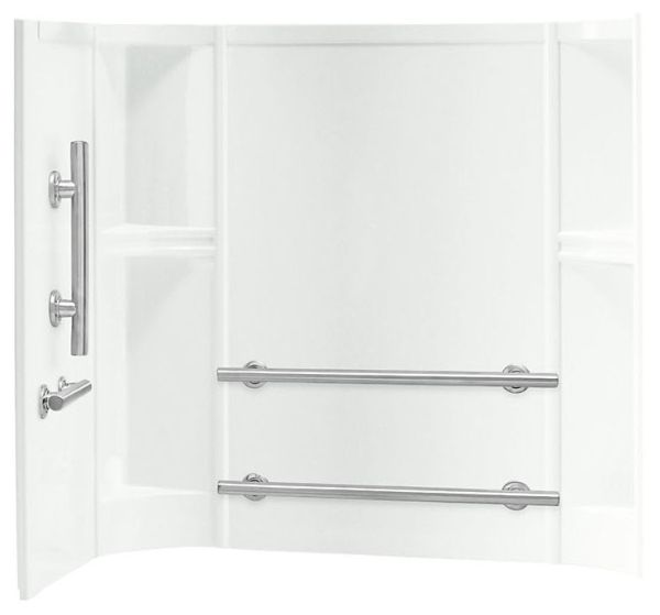 """60"""" x 30"""", White/High Gloss, Solid Vikrell, Right/Left Door Swing, 3-Wall Alcove Installation, Shower Wall Set"""