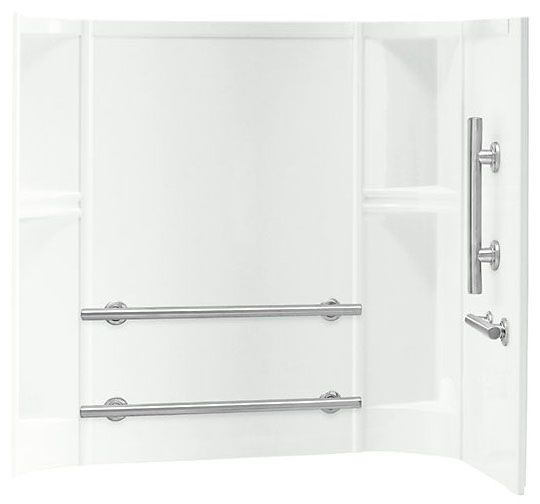"""60"""" x 30"""", White/High Gloss, Solid Vikrell, Back/Right Door Swing, 3-Wall Alcove Installation, Shower Wall Set"""