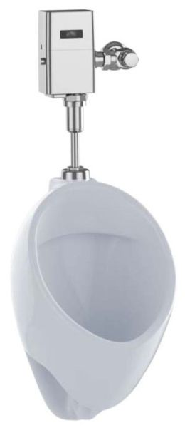 "13"" x 14-1/4"" x 21-3/4"", Top Spud Inlet x Rear Spud Outlet, 0.125 GPF, Cotton, Vitreous China, Washout Flush Action, Urinal"