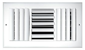 """10"""" x 10"""" x 2.25"""", Pristine White Powder Coated, Steel, 3-Way, Sidewall, Ceiling, Adjustable Curved Blade Face, Register with Multi-Shutter Damper"""