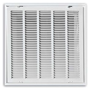 """24"""" x 24"""", Pristine White Powder Coated, Steel, Stamped, Fixed Hinge Face, Return Air Filter, Grille with Ductboard"""
