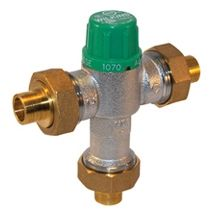 "1/2"", PEX Crimp x PEX Crimp x PEX Crimp, 10 GPM, 145 PSI, Lead-Free, Nickel Plated Cast Bronze, Thermostatic Mixing Valve"