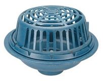 """6"""", No Hub, 12-1/2"""" Round Top, Low Silhouette Dome, Dura Coated Cast Iron, Bottom Outlet, Roof Drain"""
