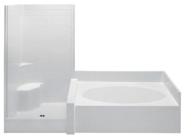 """102"""" x 42"""" x 78-3/4"""", 50 Gallon, White, Acrylic, Right Drain, 2-Piece, Tub and Shower Suite"""