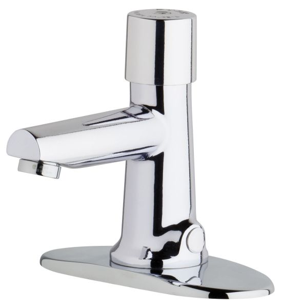"2-3/4"" Clearance x 4"" Reach, 0.5 GPM, Lead-Free, Chrome Plated, Cast Brass Push 1-Handle, Concealed Deck Mount, Fixed Center, Hot and Cold Water Metering Mixing Sink Faucet"