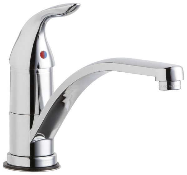 """5-7/8"""" H x 4-3/4"""" Clearance x 9"""" Reach, 1.5 GPM, Lead-Free, Chrome Plated, Cast Brass Lever 1-Handle, Deck Mount, Hot and Cold Water Mixing Sink Faucet"""