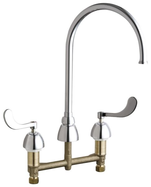 """13-1/8"""" H x 8"""" Clearance x 8"""" Reach, 1.5 GPM, Lead-Free, Chrome Plated, Cast Brass Wrist Blade 2-Handle, Deck Mount, Fixed Center, Hot and Cold Water Sink Faucet"""