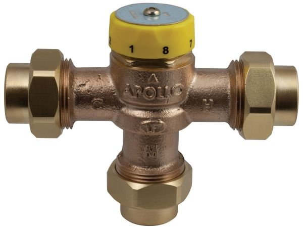 "3/4"", Soldered x Soldered x Soldered, 19 GPM, 150 PSIG, Lead-Free, Bronze, Thermostatic Mixing Valve"