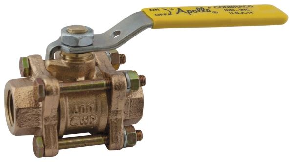 "3/4"", FPT x FPT, 600 PSI CWP, Bronze, Full Port, Stem Extension, 3-Piece, In-Line, Ball Valve"