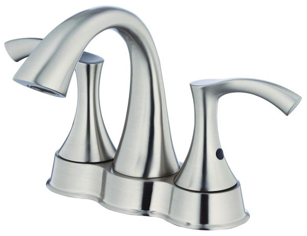 """5-7/8"""" H x 3-3/4"""" Clearance x 4-5/8"""" Reach, 1.2 GPM, Lead-Free, Brushed Nickel, Lever 2-Handle, Deck Mount, Centerset, Bathroom Sink Faucet"""