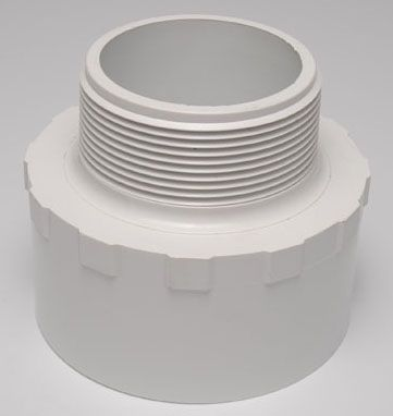 "3/4"" x 1"", MPT x Slip, Schedule 40, White, PVC, Reducing, Male, Adapter"