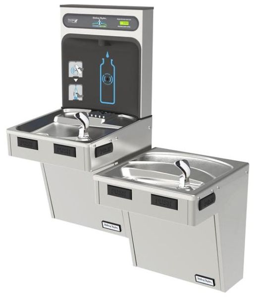 """36-1/4"""" x 18-5/8"""" x 46-1/4"""", 3/8"""" CTS, 115 VAC 60 Hz, 370 W, 8 GPH, Lead-Free, Stainless Steel, 2-Station, Wall Mount, Bi-Level, Non-Filtered, Bottle Filling Station and Cooler"""