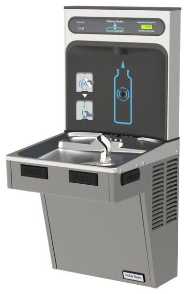 """17-7/8"""" x 18-1/2"""" x 39-3/4"""", 3/8"""" CTS, 115 VAC 60 Hz, 370 W, 8 GPH, Lead-Free, Platinum Vinyl, 1-Station, Wall Mount, Filtered, Bottle Filling Station and Cooler"""