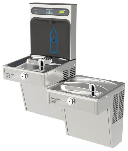"36-1/8"" x 18-5/8"" x 46-1/4"", 3/8"" CTS, 115 VAC 60 Hz, 260 W, 8 GPH, Lead-Free, Stainless Steel, 2-Station, Wall Mount, Bi-Level, Filtered, Bottle Filling Station and Cooler"