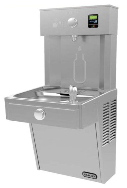 """18"""" x 18-5/8"""" x 38-13/16"""", 115 VAC 60 Hz, 8 GPH, Lead-Free, Stainless Steel, 1-Station, Wall Mount, Filtered, Bottle Filling Station Filler"""