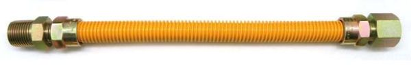"""1/2"""" x 1/2"""", MPT x FPT, 1/2"""" x 5/8"""" x 36"""", Yellow Epoxy Coated 304 Stainless Steel Tube, Zinc Plated Steel S45C End Fitting, Flexible, Gas Connector"""