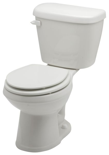 "14-3/4"", 12"" Rough-In, 1.28 GPF, White, Vitreous China, 2-Piece, Round Front, Dual Fed Siphon Jet Action, Toilet Bowl"