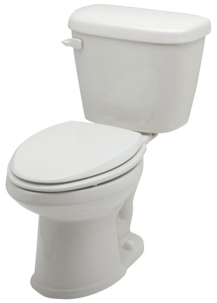 "14-3/8"", 12"" Rough-In, 1.28 GPF, White, 2-Piece, Round Front, Dual Fed Siphon Jet Action, Toilet Bowl"