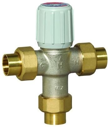"3/4"", Union Soldered x Union Soldered x Union Soldered, 0.5 GPM, 150 PSI, Lead-Free, Non-Stick Coated Nickel Plated Brass, Straight Through, Thermostatic Mixing Valve"