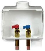 """1/2"""" Soldered Pipe, 1/4 Turn Brass Valve, 4.87 Cu Ft, 8-1/4"""" x 3-3/4"""" x 6-1/8"""", Dual Drain, 1-Piece, Washing Machine Outlet Box"""