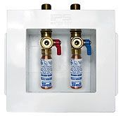 """1/2"""" Pipe, 1/4 Turn Valve, 0.81 Cu Ft, 6"""" x 3-1/8"""" x 6"""", Washing Machine Outlet Box with Water Hammer Arrester"""
